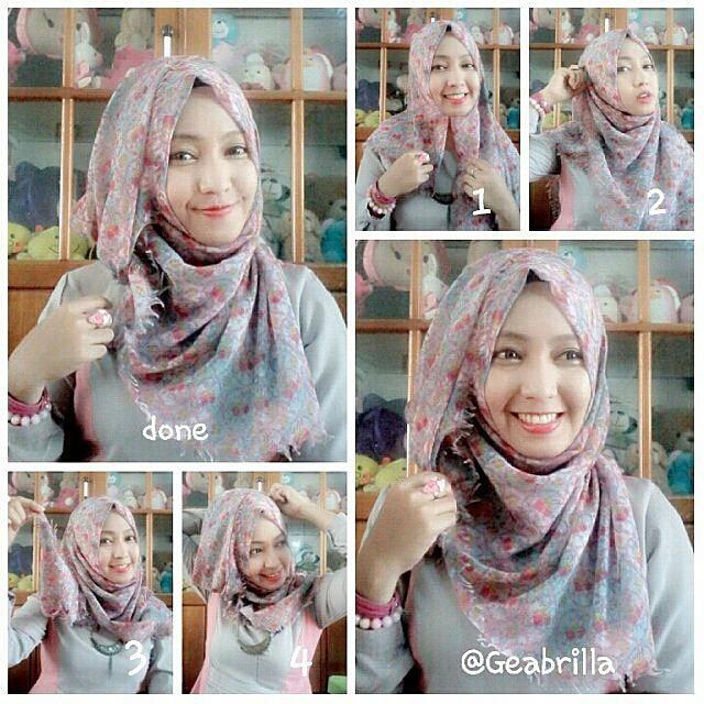 tutor hijab segi empat sederhana geabrilla