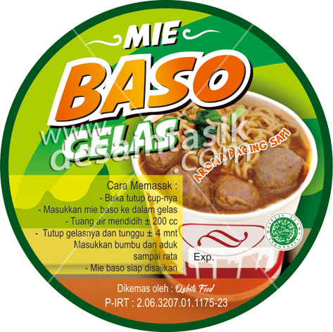 sticker label makanan baso gelas