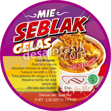 sticker label makanan seblak gelas