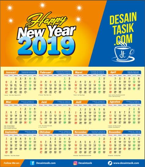 Template Kalender 2019 Lengkap Masehi & Hijriyah CDR, PDF